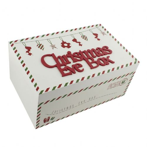 Christmas Eve Box - White Wooden Christmas Eve Box With Red and Green Festive Decoration